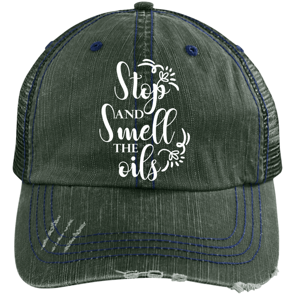 EMBROIDERED SMELL THE OILS Distressed Unstructured Trucker Cap - 3 Colors to Choose From