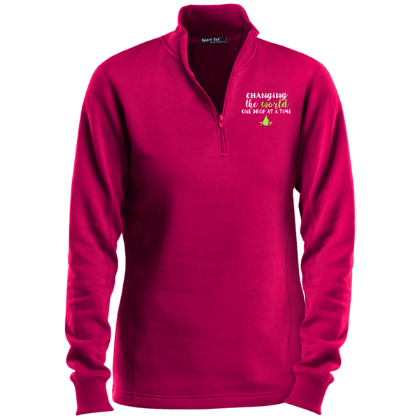 EMBROIDERED ONE DROP Sport-Tek Ladies' 1/4 Zip Sweatshirt- 4 Colors to Choose From