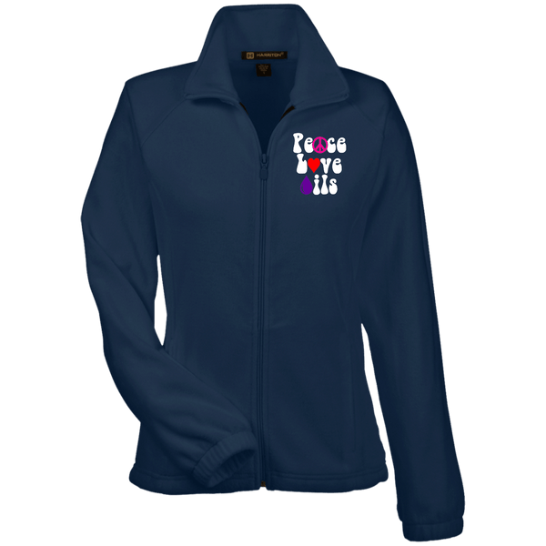 EMBROIDERED PEACE LOVE OILS Women's Fleece Jacket - 5 Colors to Choose From