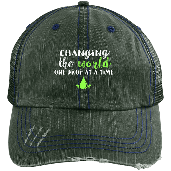 EMBROIDERED ONE DROP Distressed Unstructured Trucker Cap