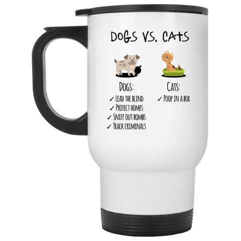 DOGS VS CATS Stainless Steel White Travel Mug - 14 oz.
