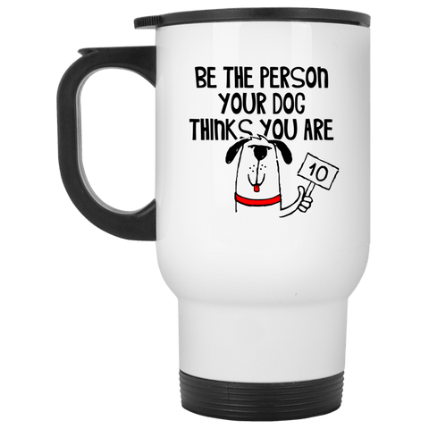 BE THE PERSON Stainless Steel White Travel Mug - 14 oz.