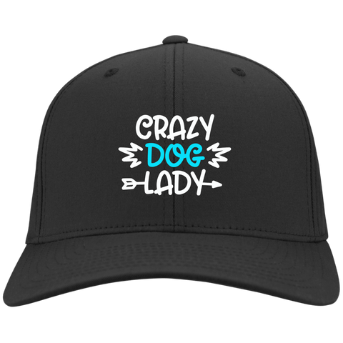 CRAZY DOG LADY Sport-Tek Dry Zone Nylon Cap - EMBROIDERED design
