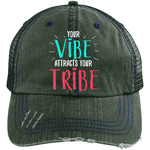 EMBROIDERED VIBE Distressed Unstructured Trucker Cap