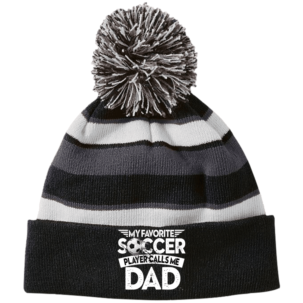 EMBROIDERED Soccer Dad Holloway Striped Beanie with Pom