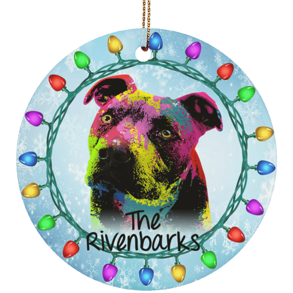 LAST NAME PIT BULL POP ART Ceramic Circle Ornament