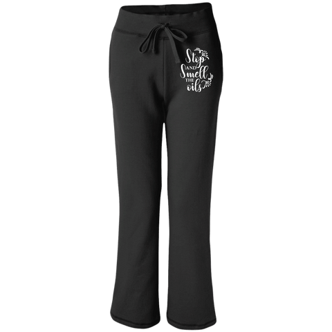 EMBROIDERED SMELL THE OILS Women's Open Bottom Sweatpants with Pockets - 4 Colors to Choose From
