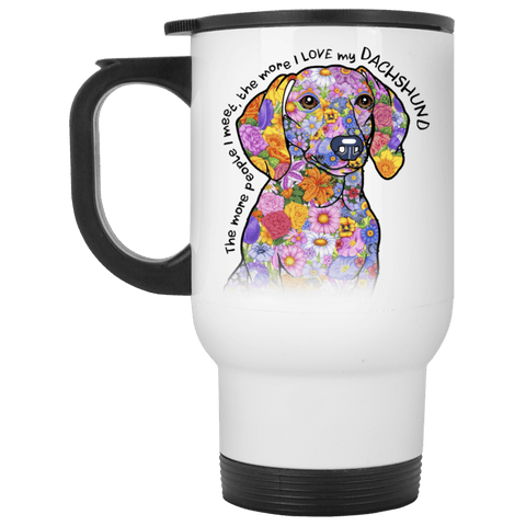 LOVE MY DACHSHUND Stainless Steel White Travel Mug - 14 oz.