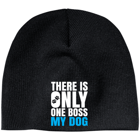 DOG IS BOSS 100% Acrylic Beanie-  EMBROIDERED Design