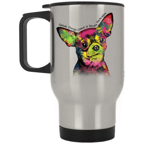 "CHIHUAHUA ""SMALL PACKAGES"" Silver Stainless Travel Mug - 14 oz."