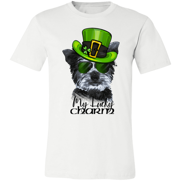 COOL LUCKY CHARM YORKIE CANVAS TEES - SIZES TO 4XL - 2 COLORS