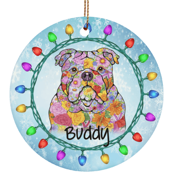 FABULOUS BULLDOG Ceramic Circle Ornament - PERSONALIZE WITH NAME