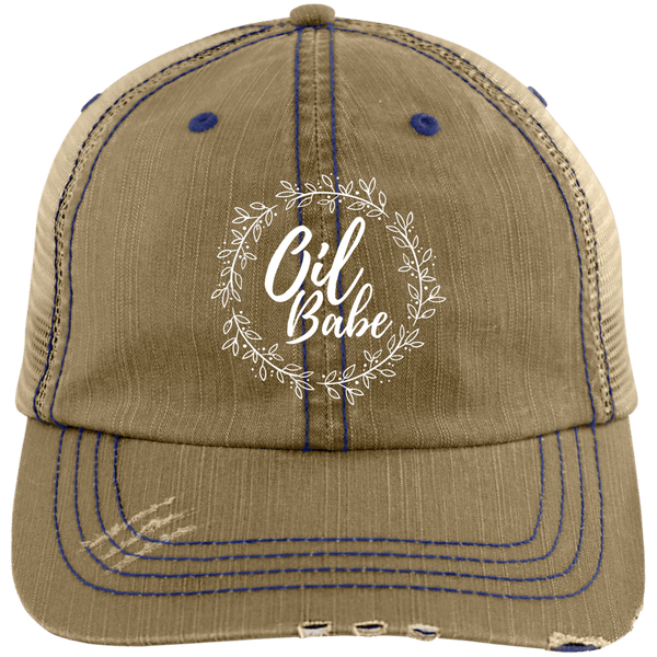 EMBROIDERED OIL BABE Distressed Unstructured Trucker Cap