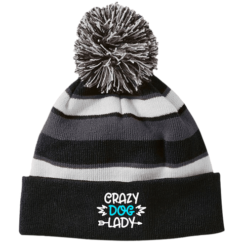 CRAZY DOG LADY Holloway Striped Beanie with Pom - EMBROIDERED design