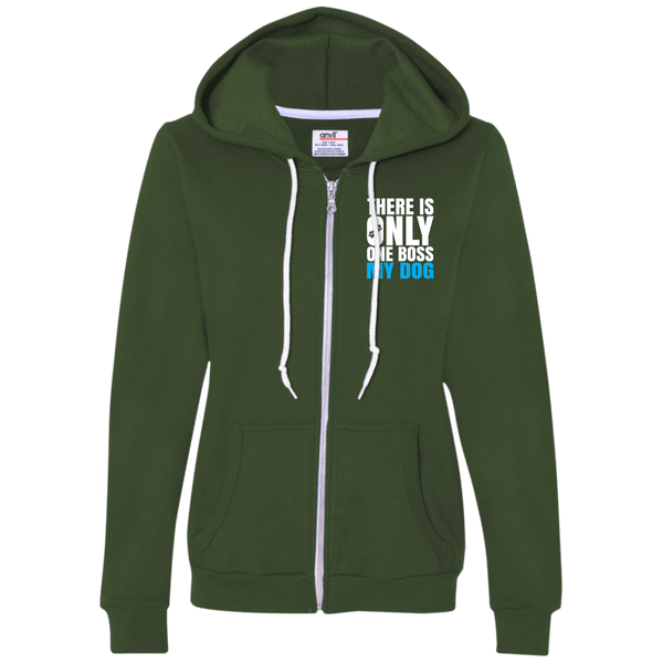 DOG IS BOSS Ladies Full-Zip Hooded Fleece - EMBROIDERED Design