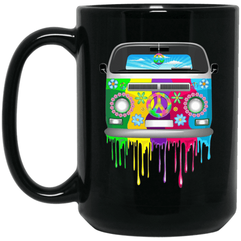 HIPPIE VAN Black Mug - BIG 15 oz. size