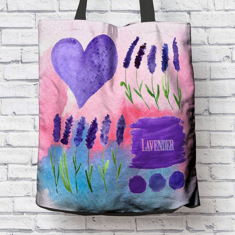 LOVE LAVENDER CANVAS TOTE