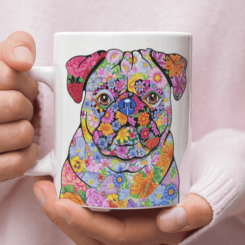 FLOWER PUG MUG - COMES IN BLACK TOO