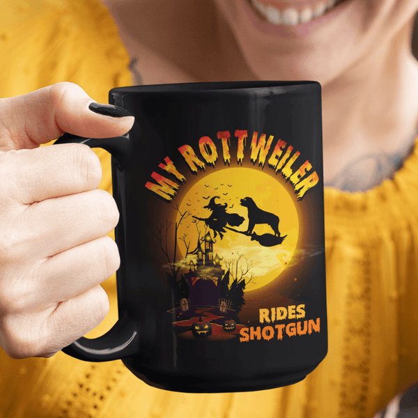 FUN HALLOWEEN ROTTWEILER RIDES SHOTGUN Black Mug - BIG 15 oz. size