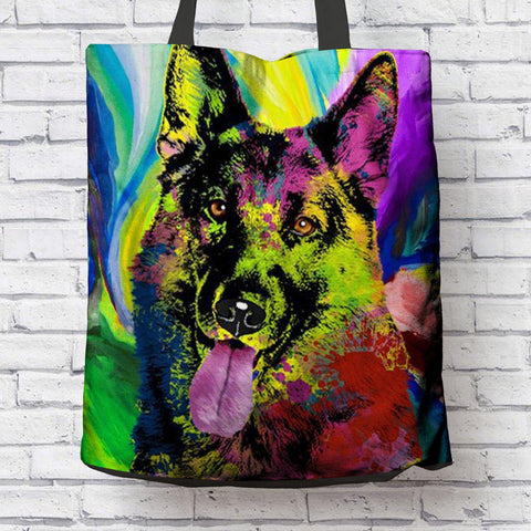 GORGEOUS POP ART GERMAN SHEPHERD CANVAS TOTE