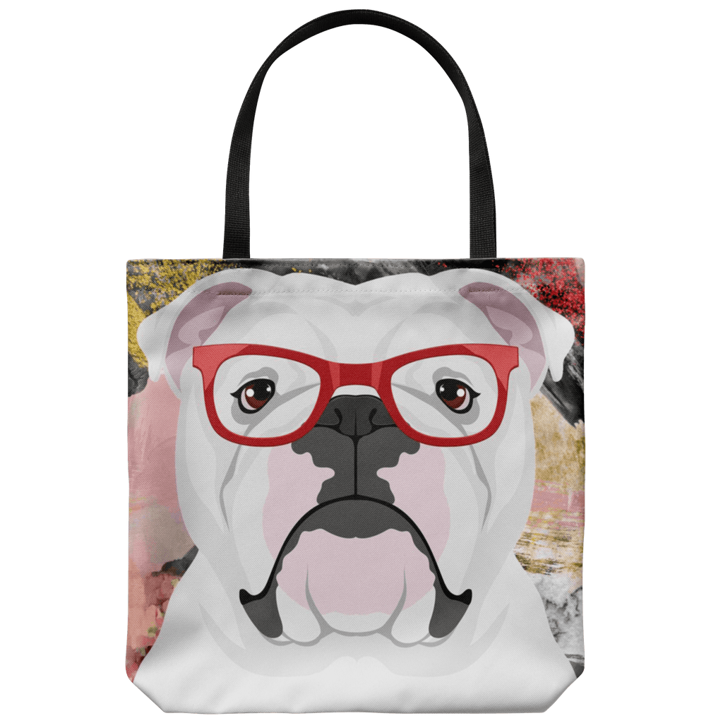 HIPSTER BULLDOG CANVAS TOTE
