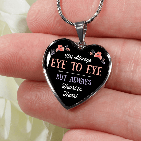 BEAUTIFUL EYE TO EYE SURGICAL STRENGTH STAINLESS STEEL NECKLACE & BANGLE BRACELET - OPTIONAL ENGRAVING
