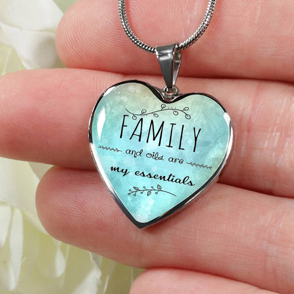 LUXURY STAINLESS STEEL FAMILY & OILS HEART NECKLACE - OPTIONAL ENGRAVING ON BACK - 18k GOLD FINISH OPTION TOO