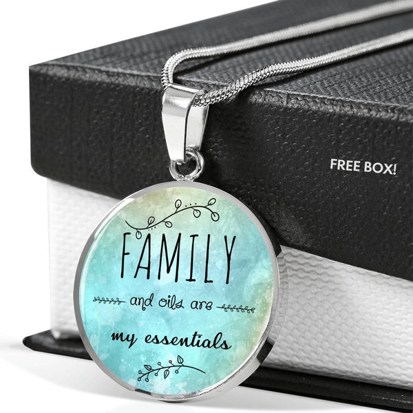 SUPERIOR STAINLESS STEEL FAMILY & OILS NECKLACE - OPTIONAL ENGRAVING ON BACK - 18k GOLD FINISH OPTION TOO
