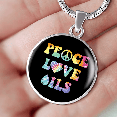 "AWESOME SURGICAL STRENGTH STAINLESS STEEL ""PEACE LOVE OILS"" NECKLACE AND BANGLE BRACELET"