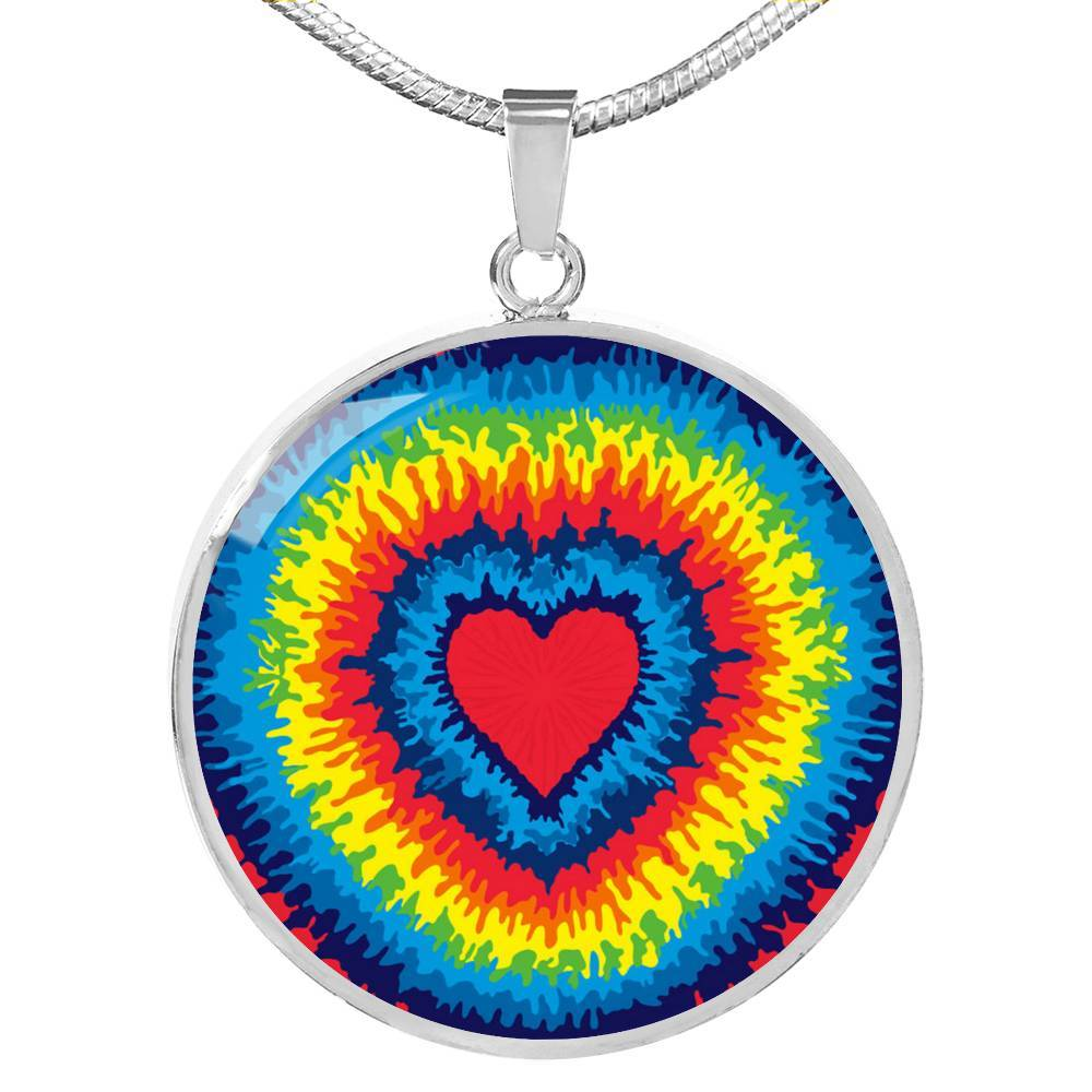 SUPERIOR STAINLESS & 18K FINISH TIE DYE HEART NECKLACE - OPTIONAL ENGRAVING