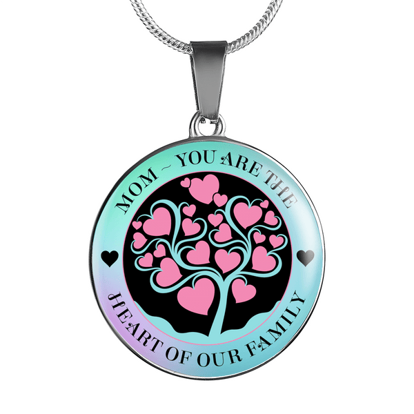 BEAUTIFUL HEART OF FAMILY NECKLACE SURGICAL STRENGTH STAINLESS STEEL BANGLE BRACELET & NECKLACE - OPTIONAL ENGRAVING