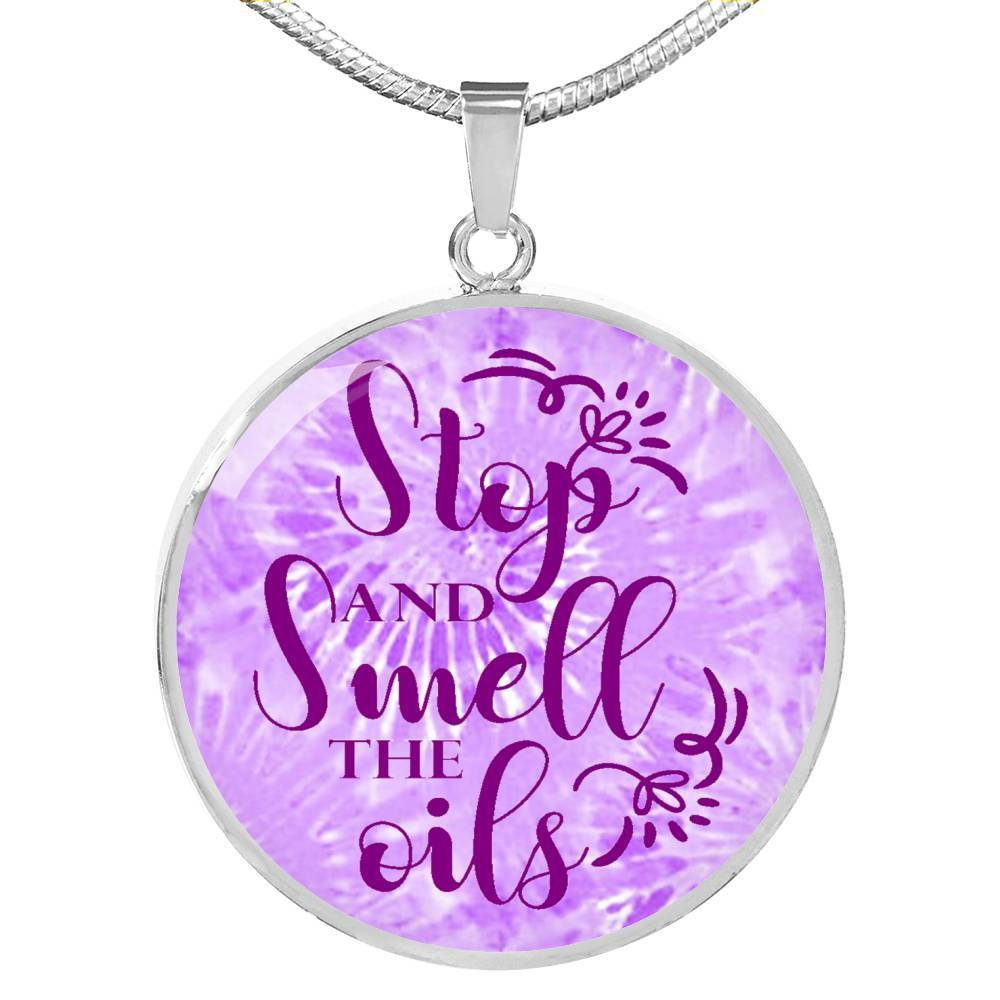 SUPERIOR STAINLESS STEEL SMELL THE OILS NECKLACE - OPTIONAL ENGRAVING ON BACK - 18k GOLD FINISH TOO