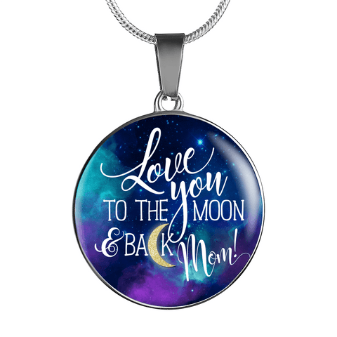 AWESOME MOON & BACK NECKLACE SURGICAL STRENGTH STAINLESS STEEL NECKLACE & BANGLE BRACELET - OPTIONAL ENGRAVING