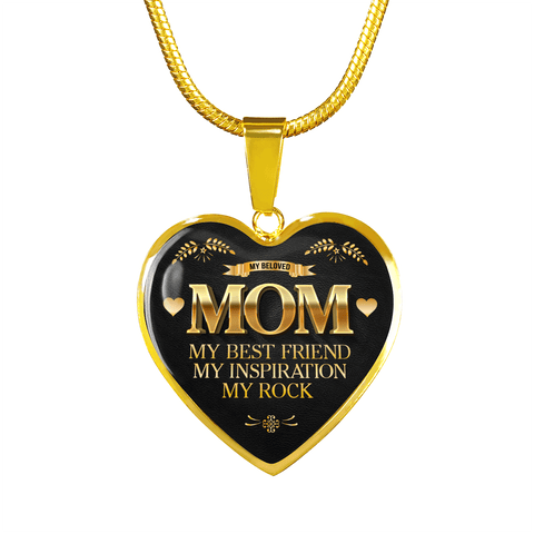 BEAUTIFUL MOM IS MY ROCK NECKLACE - OPTIONAL ENGRAVING
