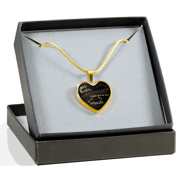 GORGEOUS DAUGHTER MY MIRACLE HEART SURGICAL STRENGTH STAINLESS STEEL NECKLACE & BANGLE BRACELET - OPTIONAL ENGRAVING - OPTIONAL ENGRAVING