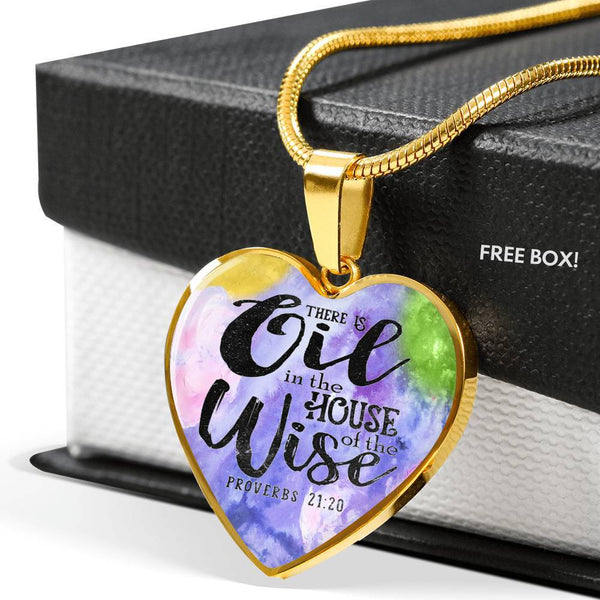 LUXURY STAINLESS STEEL PROVERBS HEART NECKLACE - OPTIONAL ENGRAVING ON BACK - 18k GOLD FINISH OPTION TOO