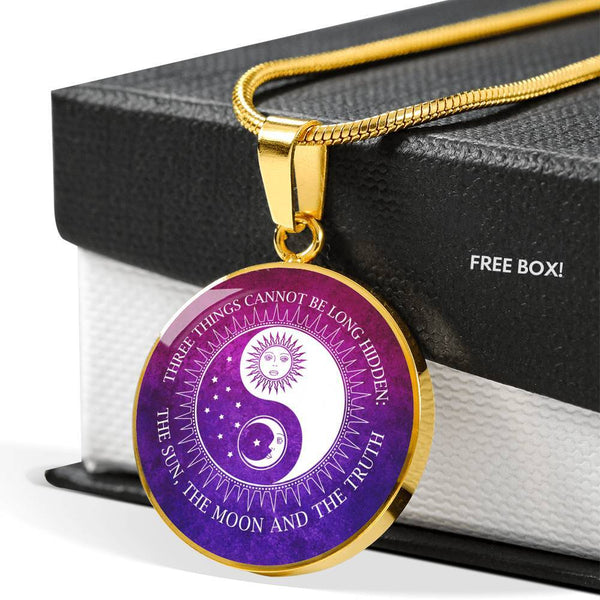 SUPERIOR STAINLESS & 18K GOLD FINISH SUN MOON TRUTH NECKLACE - OPTIONAL ENGRAVING