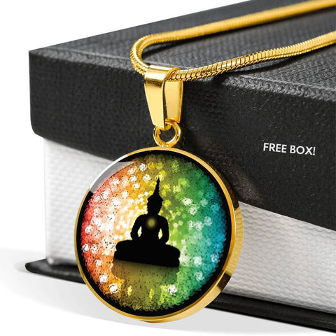 SUPERIOR STAINLESS & 18K GOLD FINISH BUDDHA NECKLACE - OPTIONAL ENGRAVING