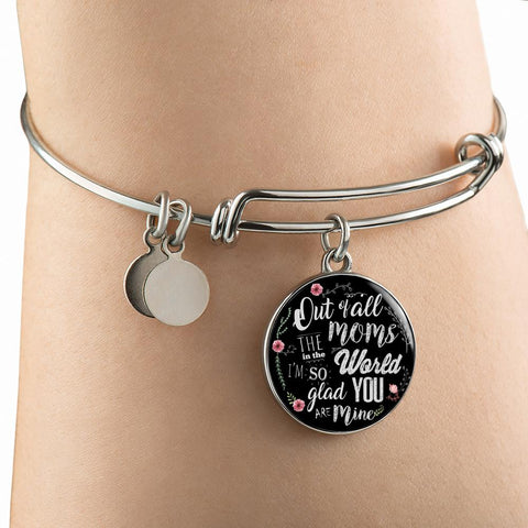 BEAUTIFUL FOR MOM SURGICAL STRENGTH STAINLESS STEEL BANGLE BRACELET & NECKLACE - OPTIONAL ENGRAVING