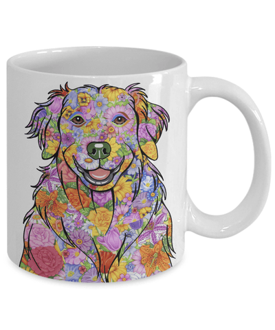 FLOWER GOLDEN RETRIEVER MUG - COMES IN BLACK TOO