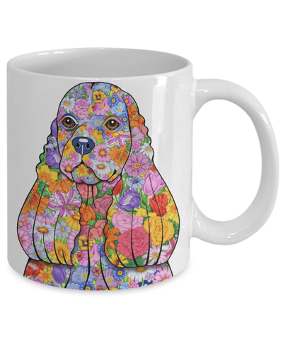 FLOWER COCKER SPANIEL MUG - COMES IN BLACK TOO