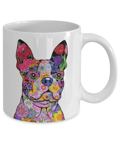 FLOWER BOSTON TERRIER MUG - COMES IN BLACK TOO