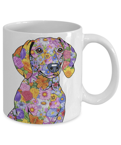 FLOWER DACHSHUND MUG - COMES IN BLACK TOO