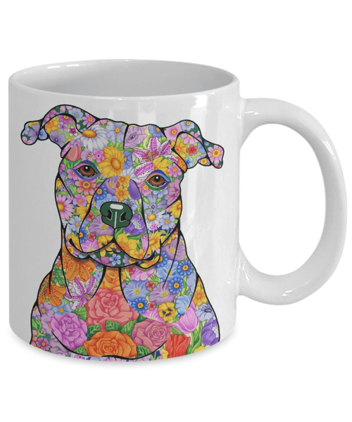 FABULOUS FLOWER PIT BULL WHITE MUG - DESIGN ON BOTH SIDES