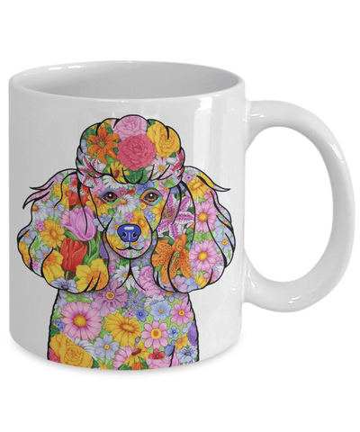 FLOWER POODLE MUG - COMES IN BLACK TOO