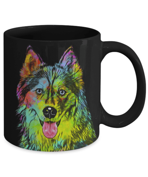 GORGEOUS POP ART HUSKY BLACK MUG - DESIGN ON BOTH SIDES