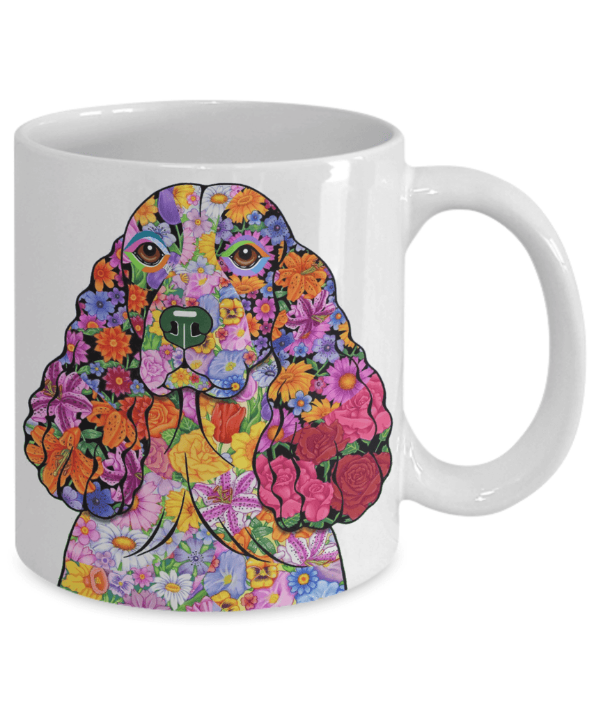 FABULOUS FLOWER SPRINGER SPANIEL WHITE MUG - DESIGN ON BOTH SIDES