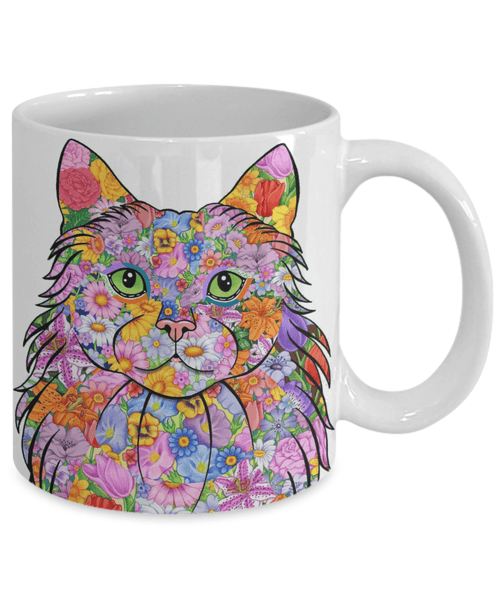 AWESOME FLOWER CAT MUG - LONG HAIRED CAT