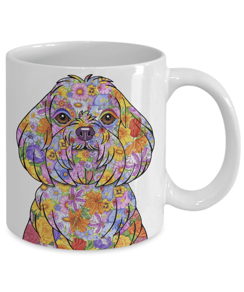 FABULOUS FLOWER MALTESE WHITE MUG - DESIGN ON BOTH SIDES