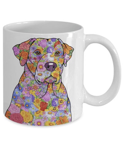 FLOWER YELLOW LAB MUG - COMES IN BLACK TOO